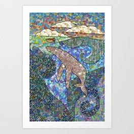 Whale and Girl Art Print