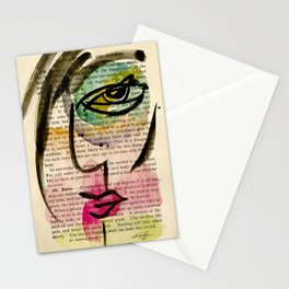"""Funky Face Abstract, """"I See 24"""" by Kathy Morton Stanion Stationery Cards"""