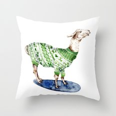 Llama in a Green Deer Sweater Throw Pillow
