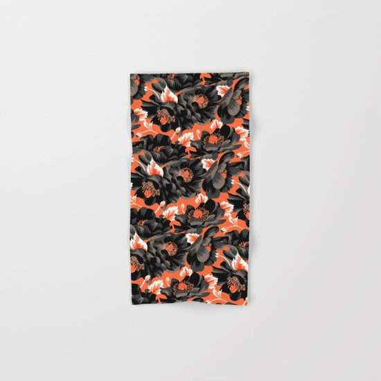 Mount Cook Lily - Orange/Black Hand & Bath Towel