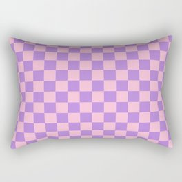 Cotton Candy Pink and Lavender Violet Checkerboard Rectangular Pillow