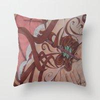 art nouveau Throw Pillows featuring Art Nouveau by Matita's Art