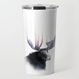 Moose in Watercolor - Elk Decor- King of the Forest Travel Mug