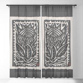 Woodcut Cactus Sheer Curtain