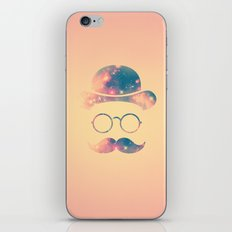 Retro Face with Moustache & Glasses / Universe - Galaxy Hipster iPhone Skin