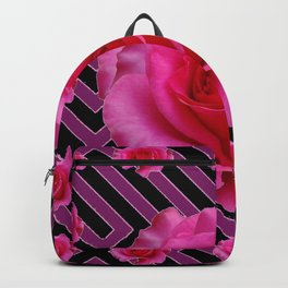 FUCHSIA PINK ROSES ON PUCE-BLACK GRAPHIC Backpack