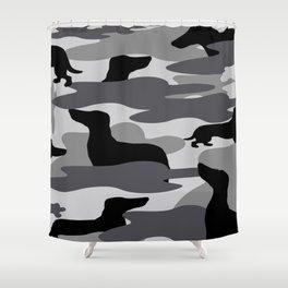 Grey Camo Weiner Dogg Shower Curtain