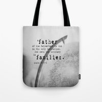 scripture Tote Bags featuring Adoption Scripture Art Psalm 68:5-6 by KimberosePhotography