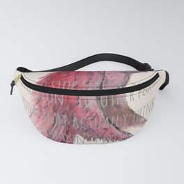 birdy text! beige Fanny Pack