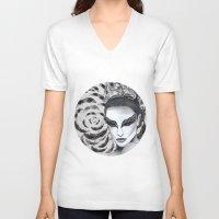 black swan V-neck T-shirts featuring Black Swan by Matt McVeigh
