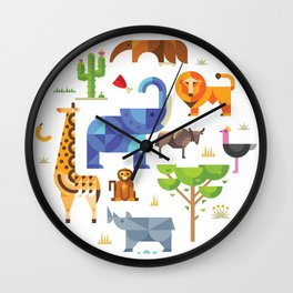 Geometric animals in savannah Wall Clock