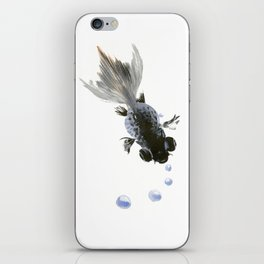 Black Fish, feng shui zen brush minimalist ink art design iPhone Skin