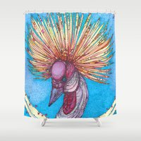 crane Shower Curtains featuring Crowned Crane by Kate Fitzpatrick