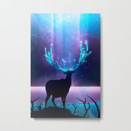 Greenery Deer - Sterling Magenta Metal Print