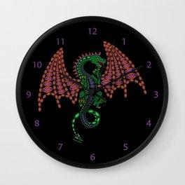 Jeweled Dragon on Black Wall Clock