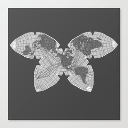 Butterfly Map SF/BW Canvas Print
