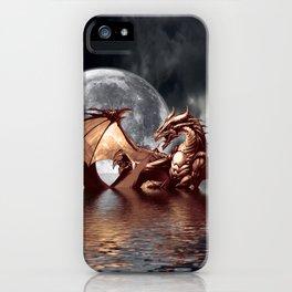 Mystical Dragon and Moon Fantasy Design iPhone Case