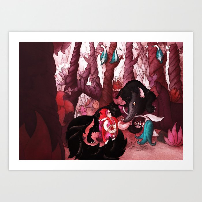 First Meeting in Forest Art Print