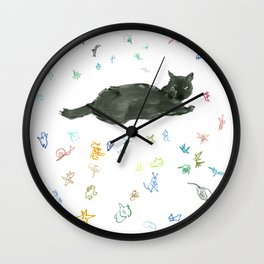 cat and toy Wall Clock