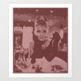 Text Portrait of Audrey Hepburn with full script of Breakfast at Tiffany's Art Print