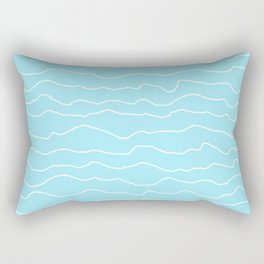 Turquoise with White Squiggly Lines Rectangular Pillow