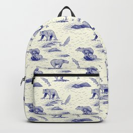 Grizzly Bears Fishing for Salmon (Beige and Blue) Backpack
