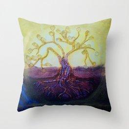 Citrine Tree in Yellow & Purple Throw Pillow