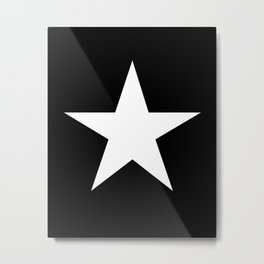 White star on black background Metal Print