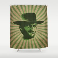 clint eastwood Shower Curtains featuring Clint by Durro