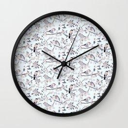 Blossom and Birds Cool Grey Tones Print Wall Clock
