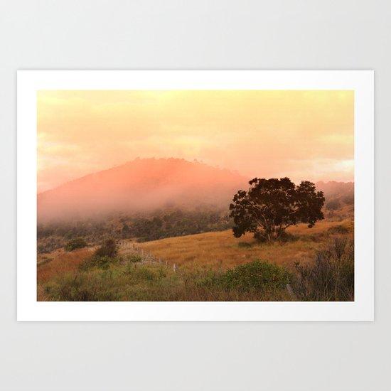 Early Fog In The Hills Art Print