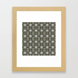 Pewter Gray and White Floral Geometric Pattern Framed Art Print