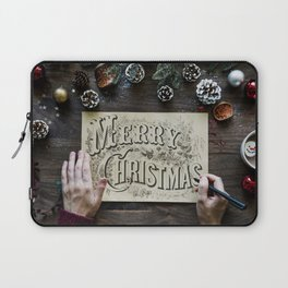 Typography Drawing Of Merry Christmas Laptop Sleeve