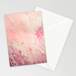 Fluid Art Acrylic Painting, Pour 2 - Light Pink, Magenta & White Blended Color Stationery Cards