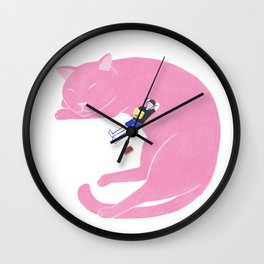 Relaxing with cat Wall Clock