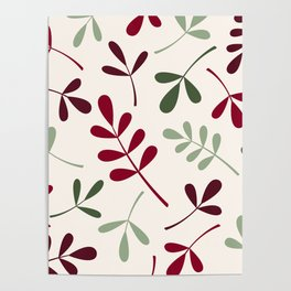 Assorted Leaf Silhouettes Reds Greens Cream Poster