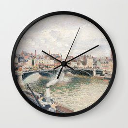 "Camille Pissarro ""Morning, An Overcast Day, Rouen"" Wall Clock"