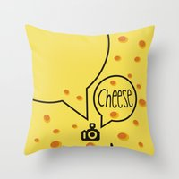 cheese Throw Pillows featuring cheese by creaziz