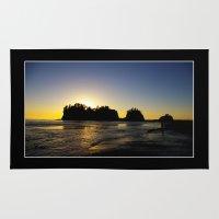 saga Area & Throw Rugs featuring sun setting behind james island, washington, usa  by dedmanshootn