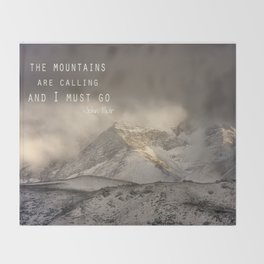 The Mountains are calling, and I must go.  John Muir. Vintage. Throw Blanket