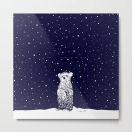 Polar Bear in a Snow Storm Metal Print
