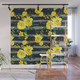 Yellow black gray watercolor modern floral stripes Wall Mural