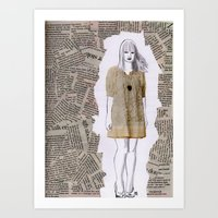 newspaper Art Prints featuring Newspaper by Melania B