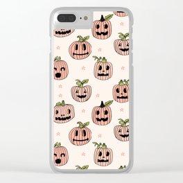 Pumpkin halloween jack-o'-lantern fall autumn carving cute pattern Clear iPhone Case