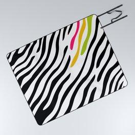 Zebra print. Multicolor Picnic Blanket