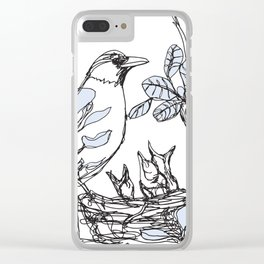 Robin's Nest (a one-line drawing) Clear iPhone Case