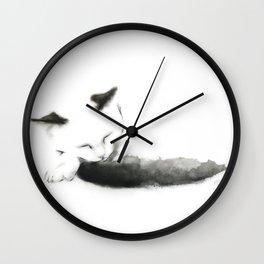 Sleepy Cat with Inky Black  Tail Wall Clock