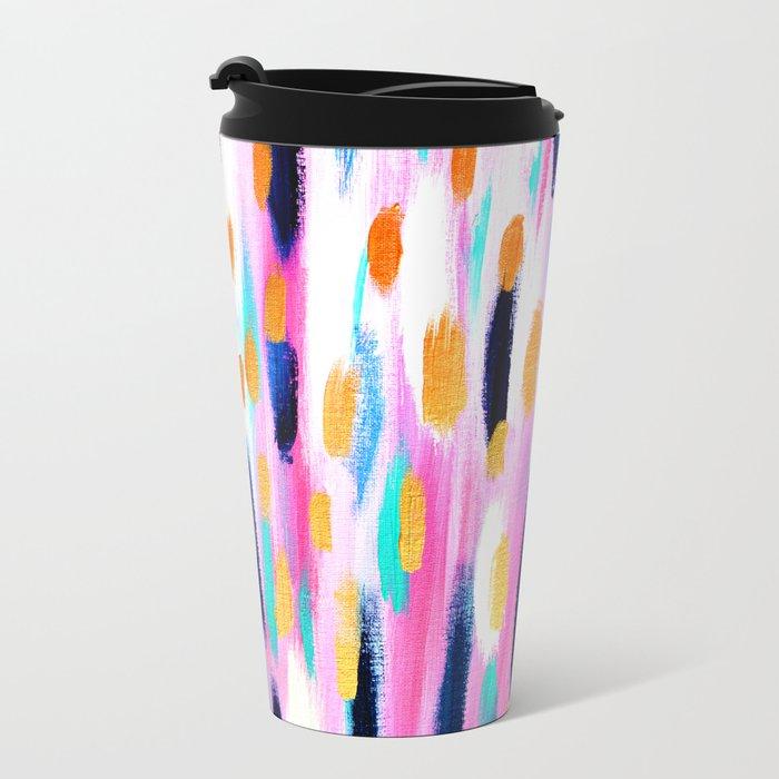 Pink And Navy Abstract Metal Travel Mug