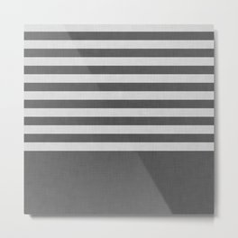 Dark and light gray color block and stripes Metal Print