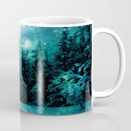 Galaxy Winter Forest Blue Teal Coffee Mug